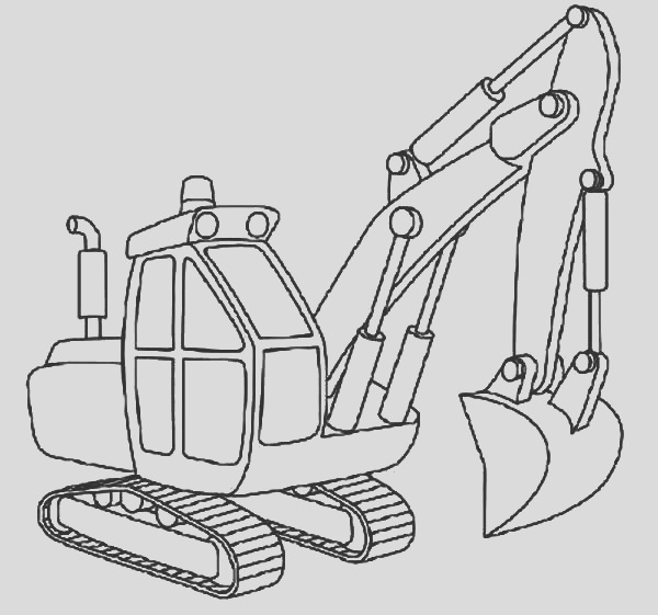 excavator outline coloring pages