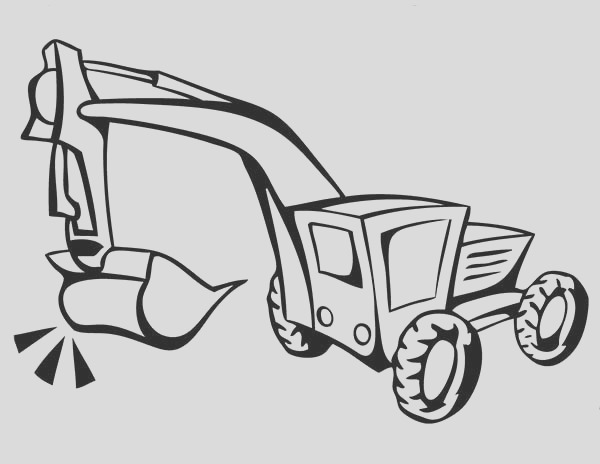how to draw excavator in digger coloring page