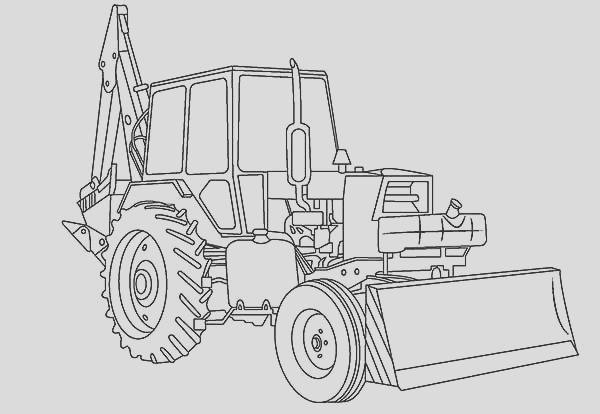 awesome excavator in digger coloring page