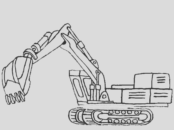 picture of excavator in digger coloring page