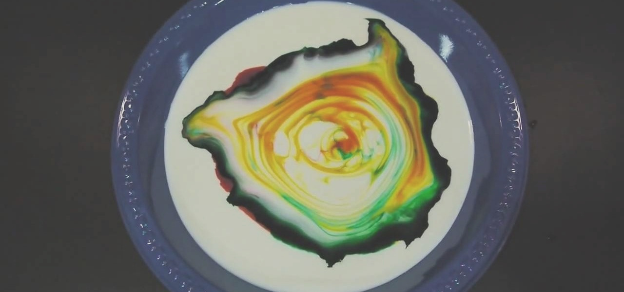 use milk dish soap and food coloring for fun effect