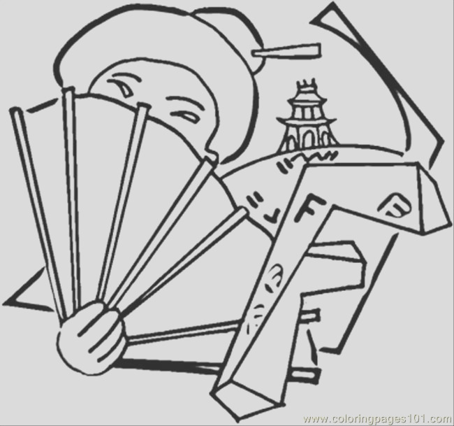 2996 chinese girl with a fan coloring page