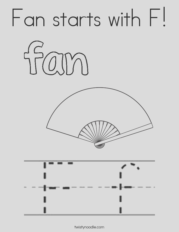 fan starts with f coloring page