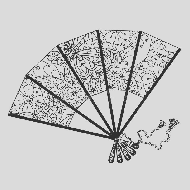 stock illustration fan decorated contoured butterflies asian style flowers zen picture anti stress drawing colouring book hand image