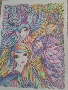 fanciful faces coloring book pleted pages