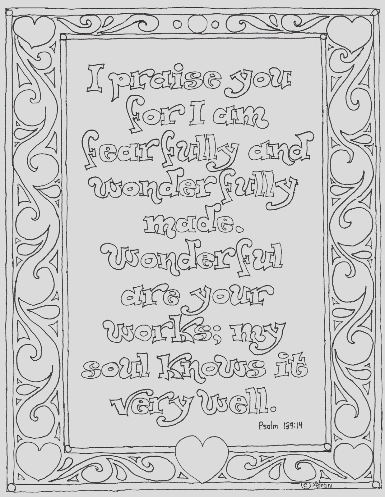 printable psalm coloring page