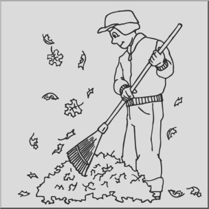 clip art kids chores raking leaves coloring page i abcteach