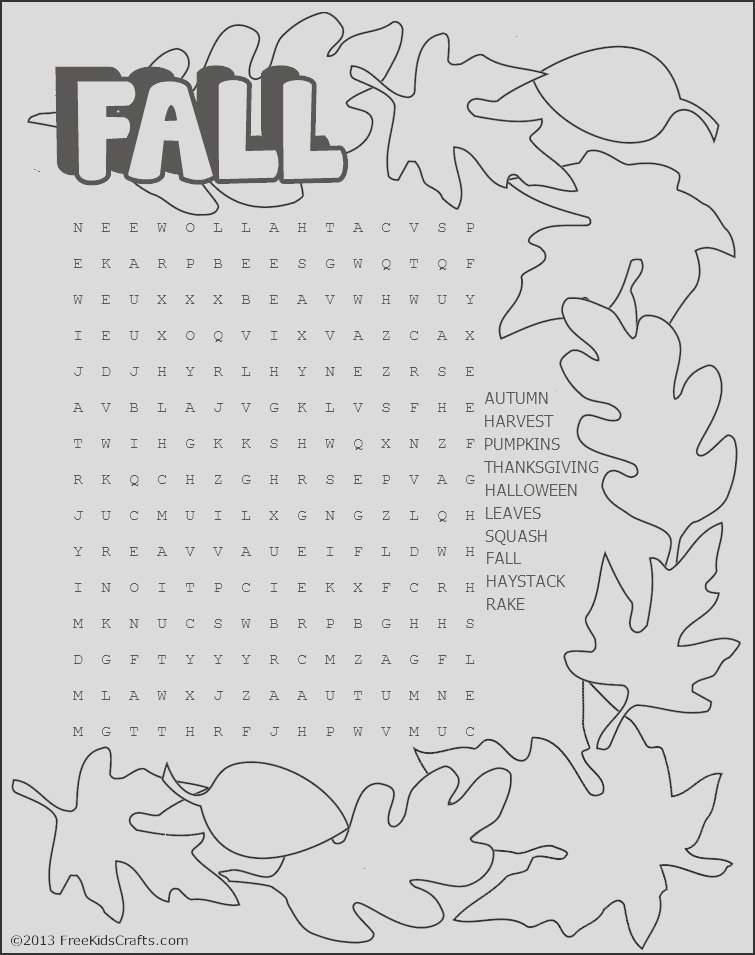 printable fall word search puzzle printable