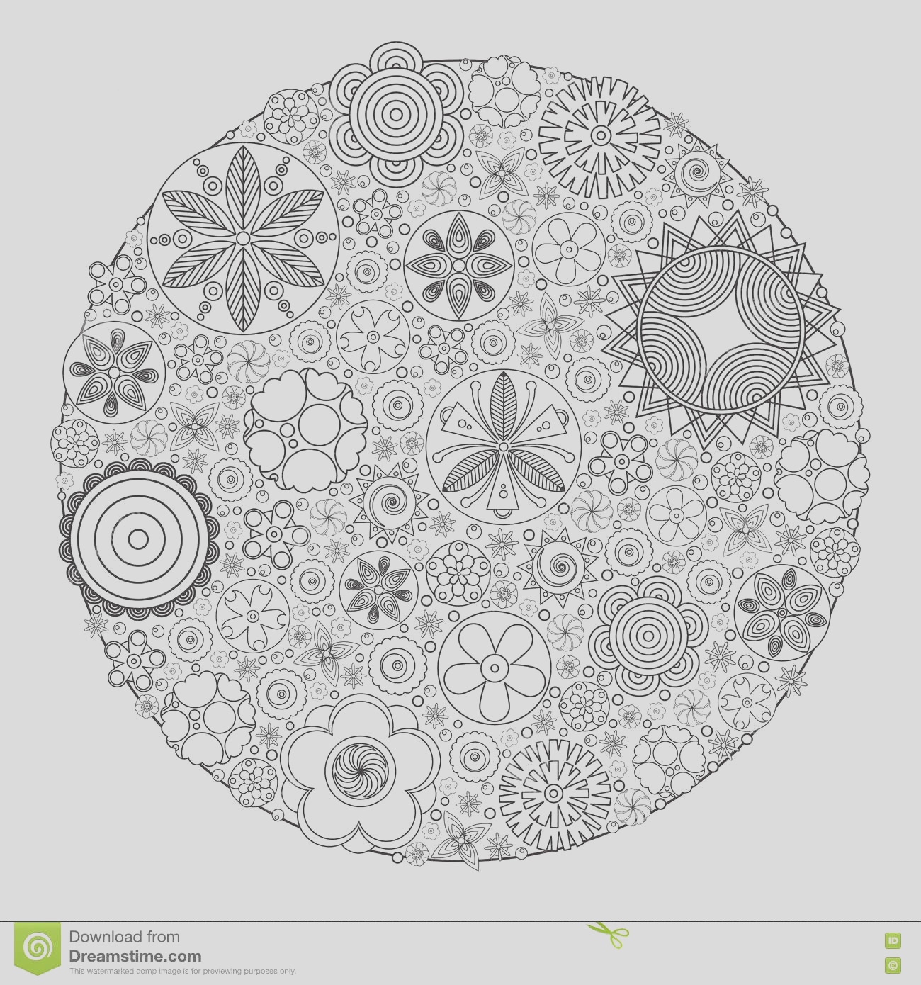 stock illustration vector monochrome floral decorative pattern coloring book grown up adult imitation hand drawing flower ethnic retro image