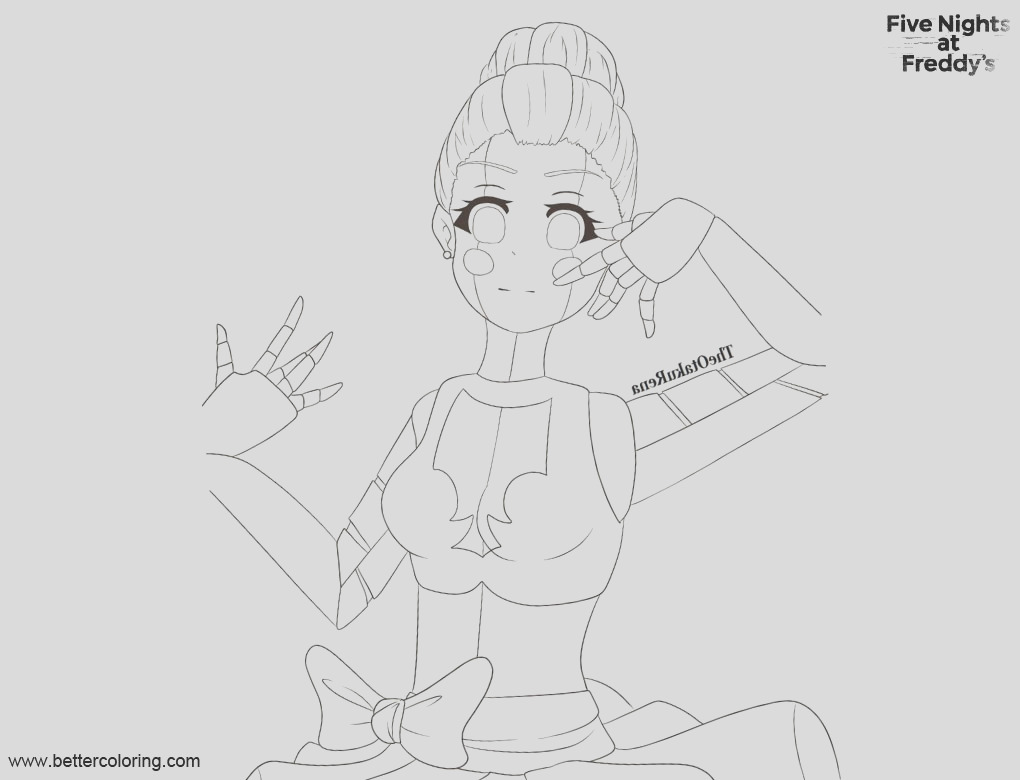 fnaf coloring pages sister location ballora by theotakurena