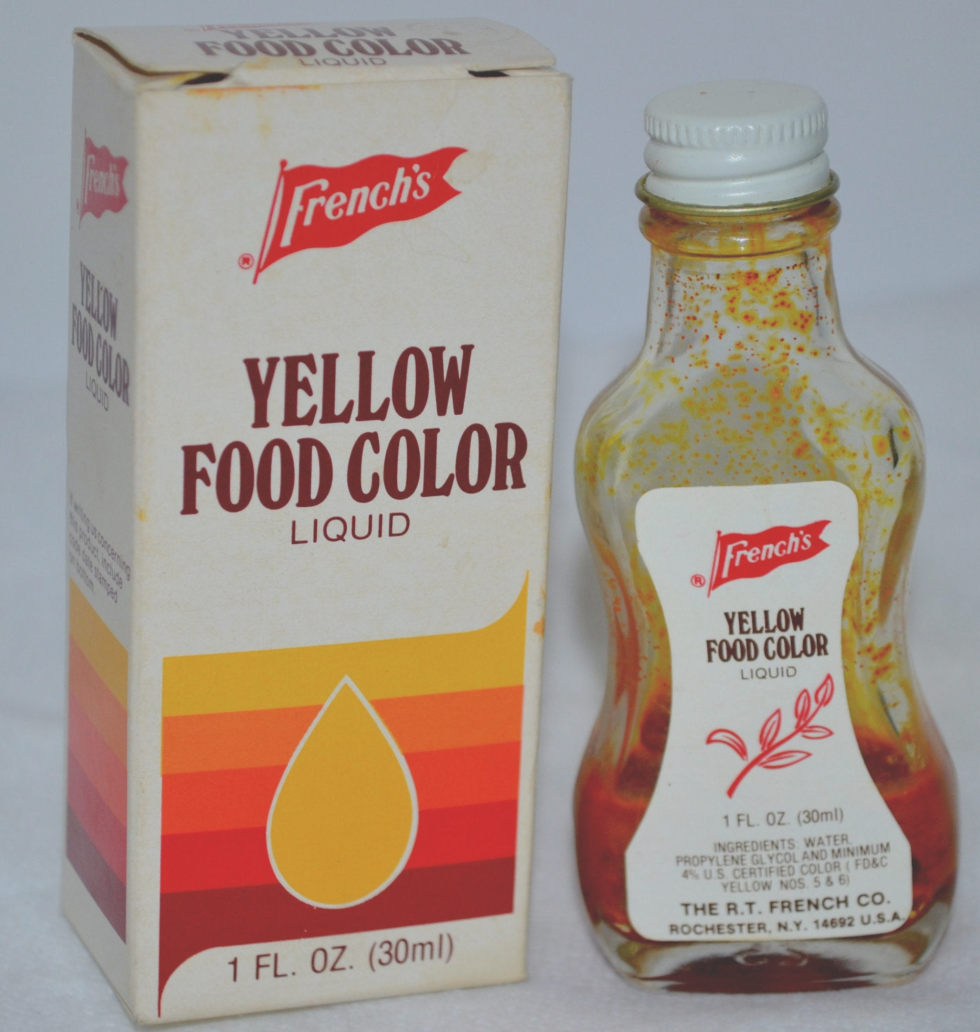 vintage frenchs yellow food color box