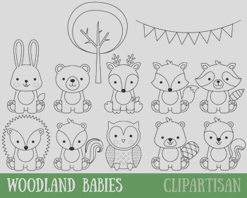Woodland Animals Clip Art Baby Animals Coloring Activity