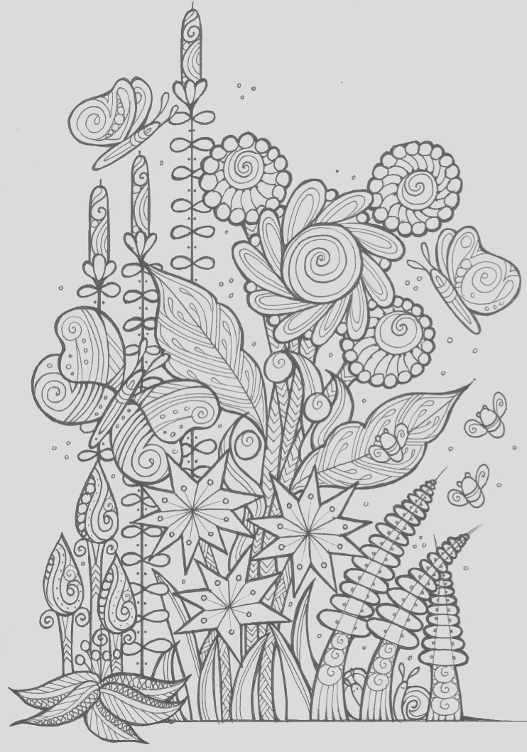 Butterflies and Bees Adult Coloring Page