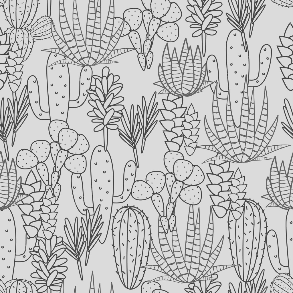 stock illustration succulents plant vector seamless pattern