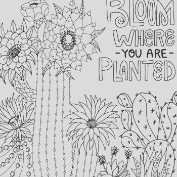 Bloom Where you are Planted Inspirational Cactus coloring page Printable