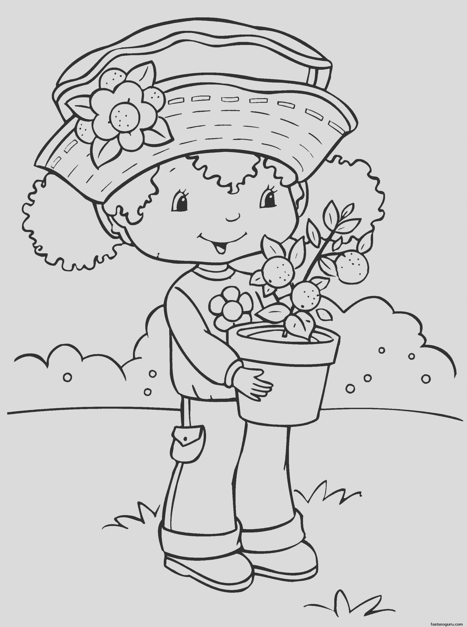 printable cartoon strawberry shortcake coloring pages for girls