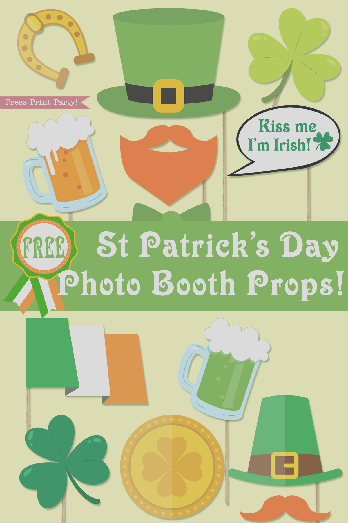 st patricks day photo booth props free printable