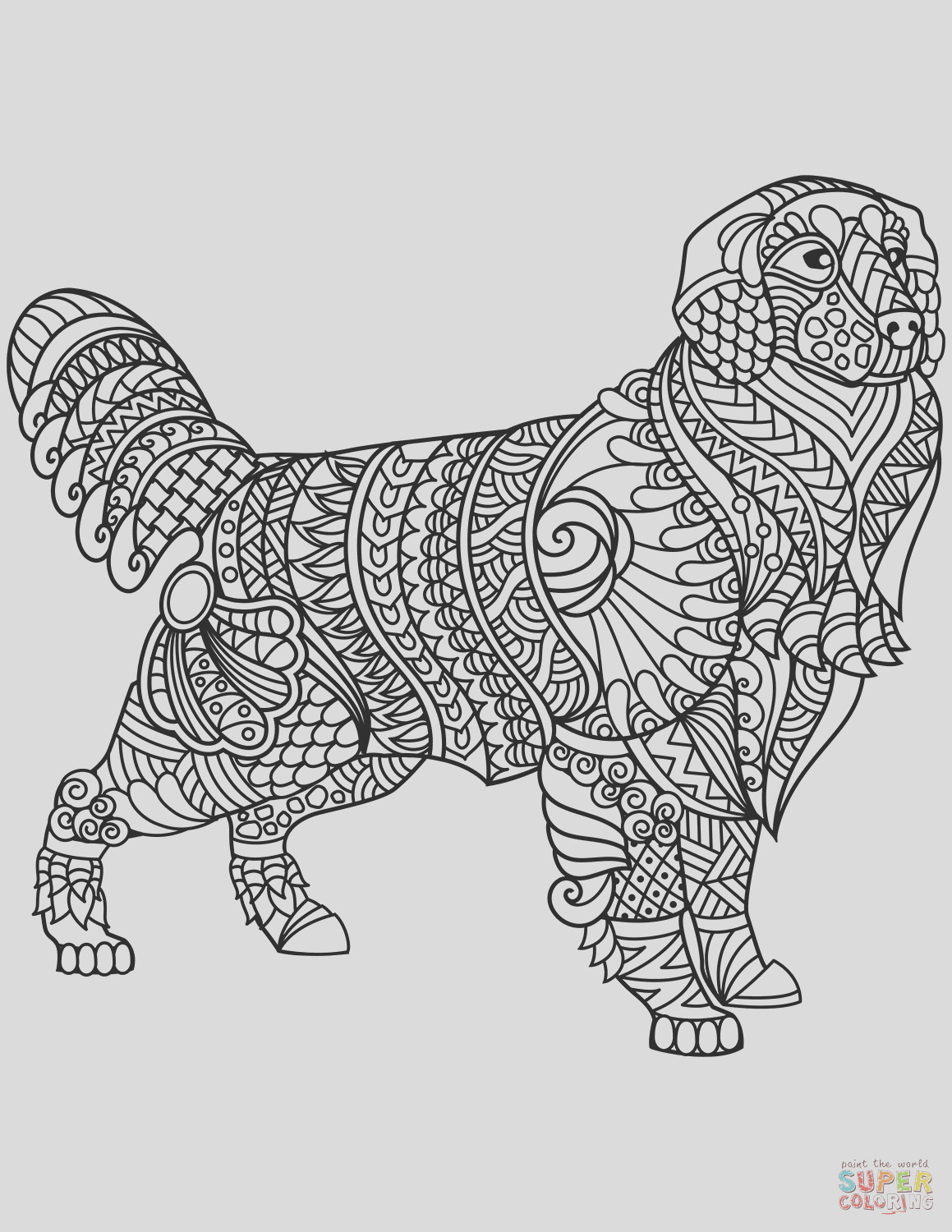 golden retriever zentangle