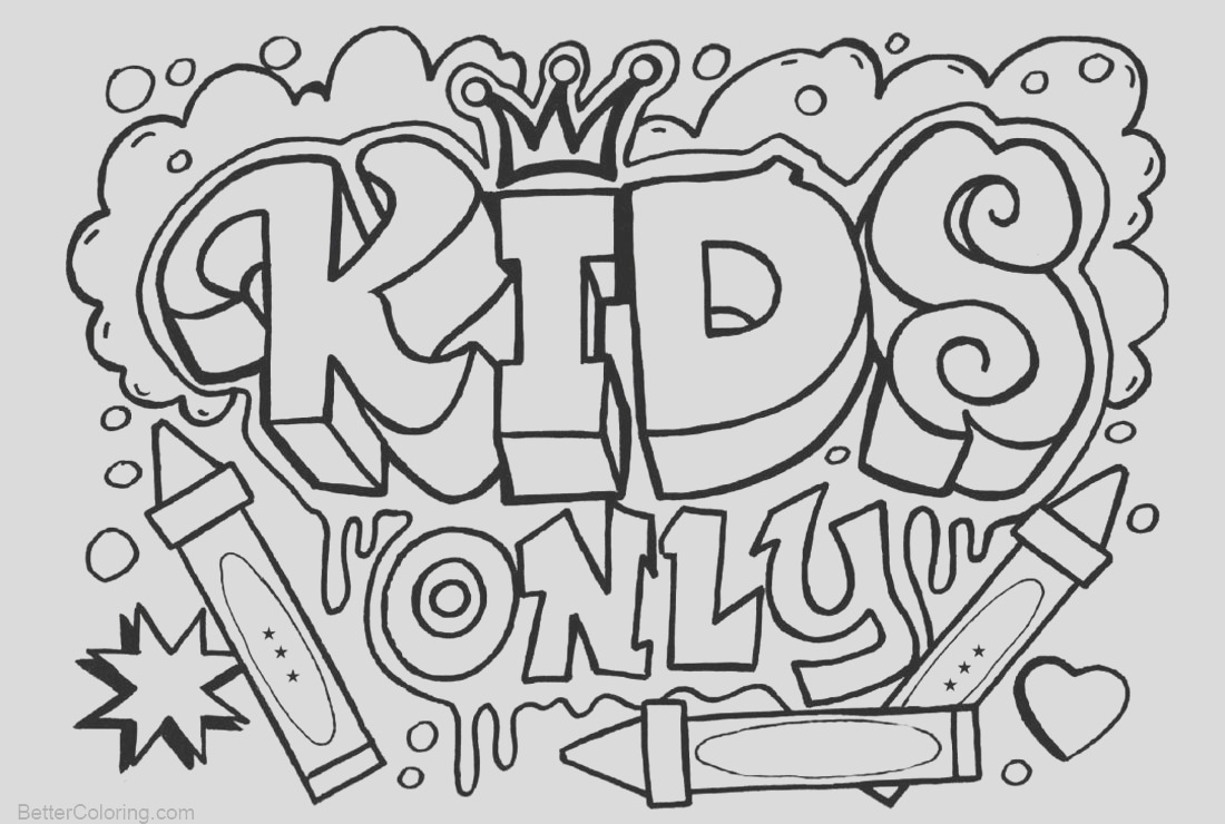 graffiti coloring pages kids only template