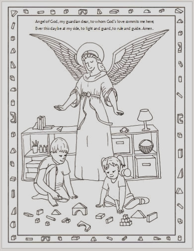 free guardian angel coloring page