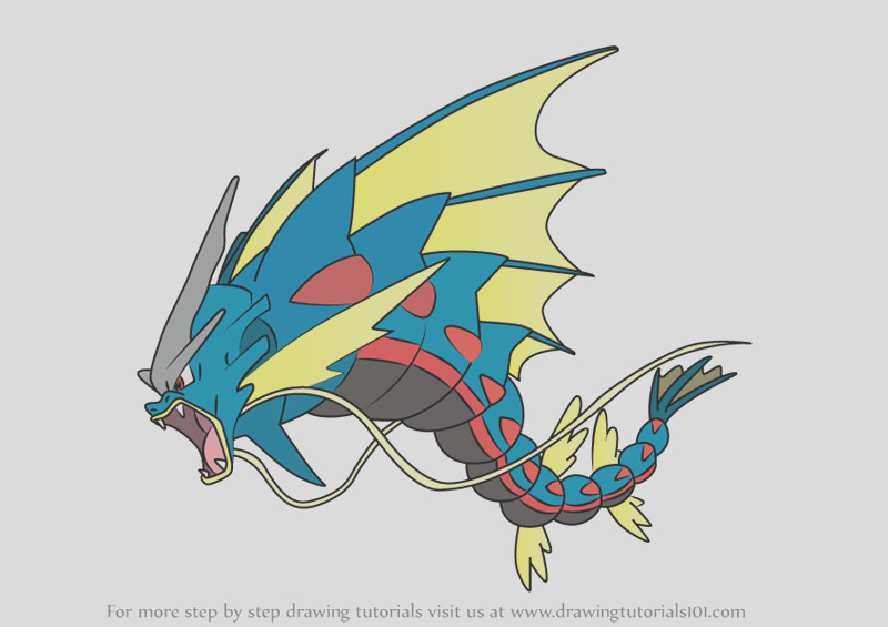 pokemon mega gyarados coloring pages sketch templates