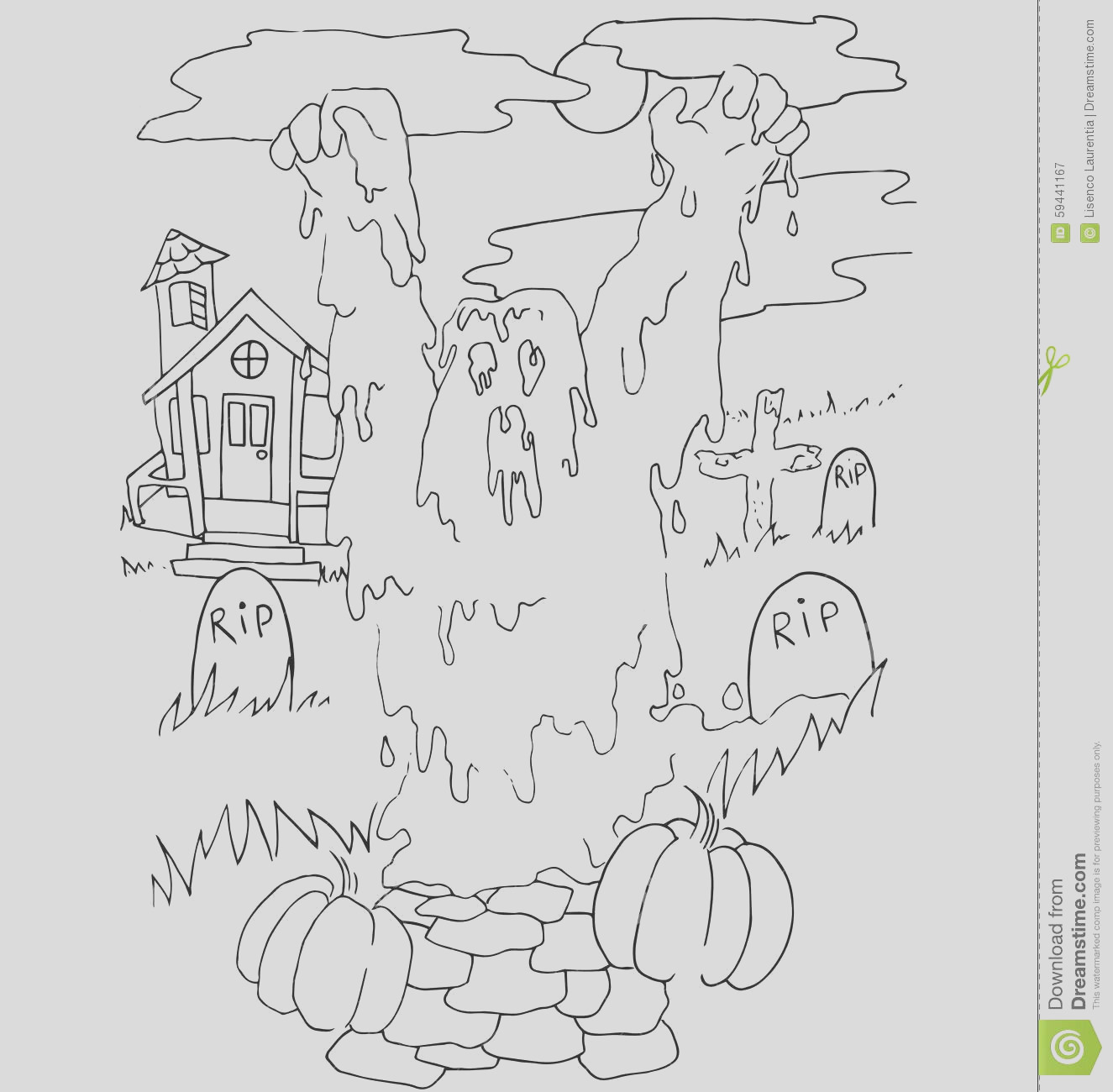 stock illustration simple coloring halloween theme made hand drawing black pencil white background image