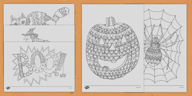 t t halloween themed mindfulness colouring sheets