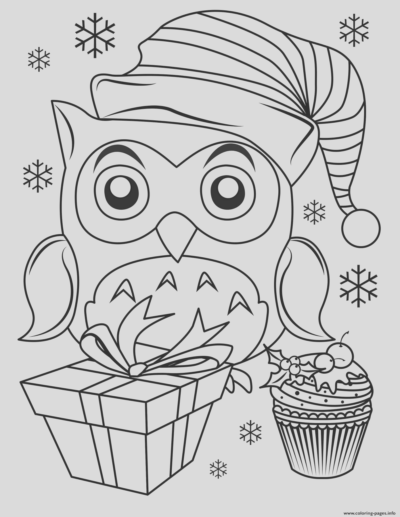 cute christmas owl printable coloring pages book