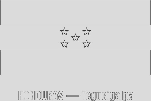 honduras nation flag coloring page