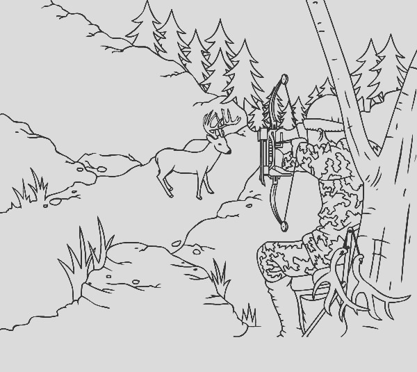 hunting deer with camouflage coloring pages 2