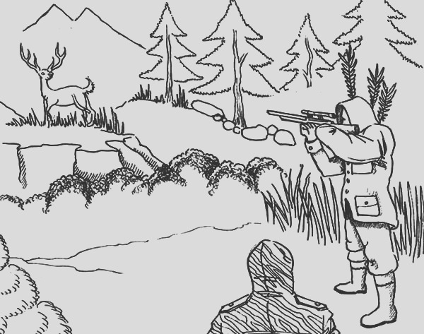 aiming at deer hunting coloring pages