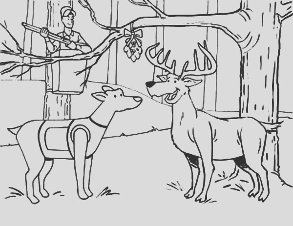 hunting deer and a dog under the mistletoe coloring pages