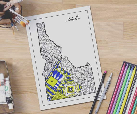 idaho state map coloring page for adults