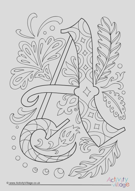 illuminated letter a colouring page