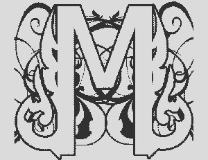 Illuminated M Coloring Page