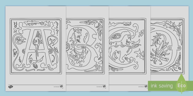 t2 t illiminated letters colouring pages