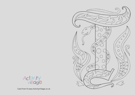 illuminated letter t colouring card
