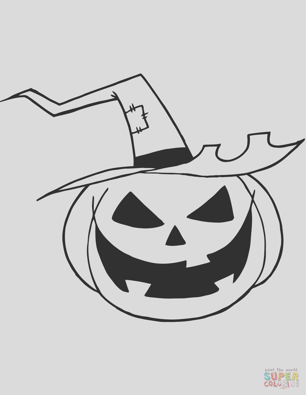 scary jack o lantern with a witch hat
