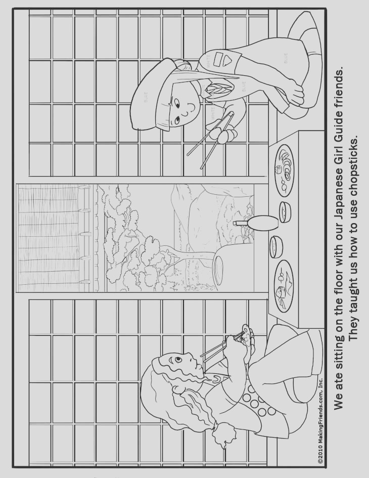 coloring page japanese girl guide