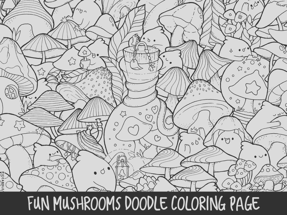 mushrooms doodle coloring page printable