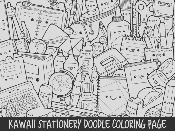 stationery doodle coloring page