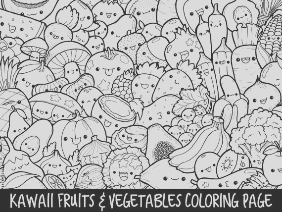 fruits ve ables doodle coloring page