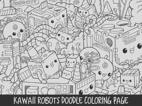 robots doodle coloring page printable
