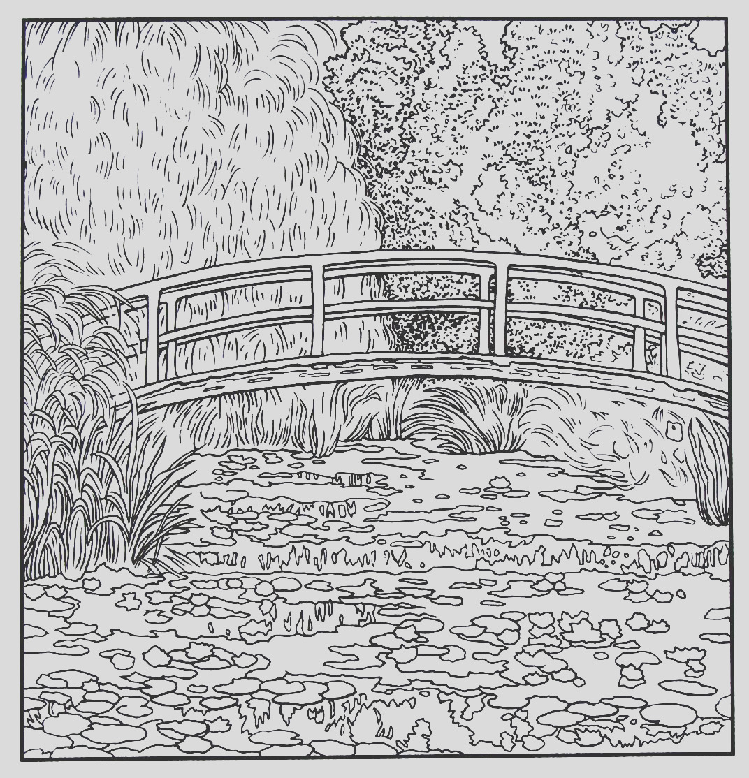 claude monet water lilies coloring pages