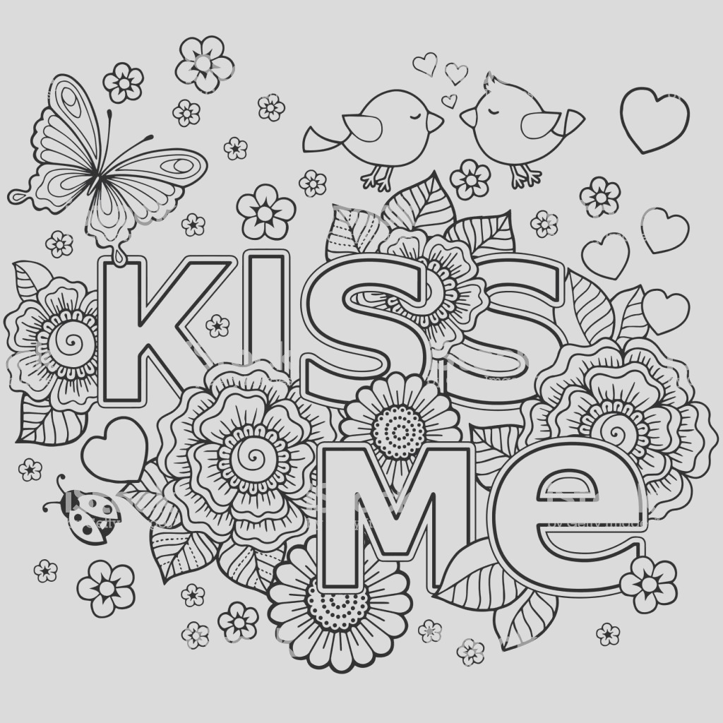 kiss me vector abstract coloring book for adult design for wedding invitations and gm