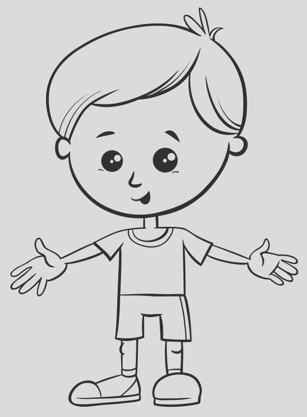 black white cartoon illustration cute little boy character coloring book