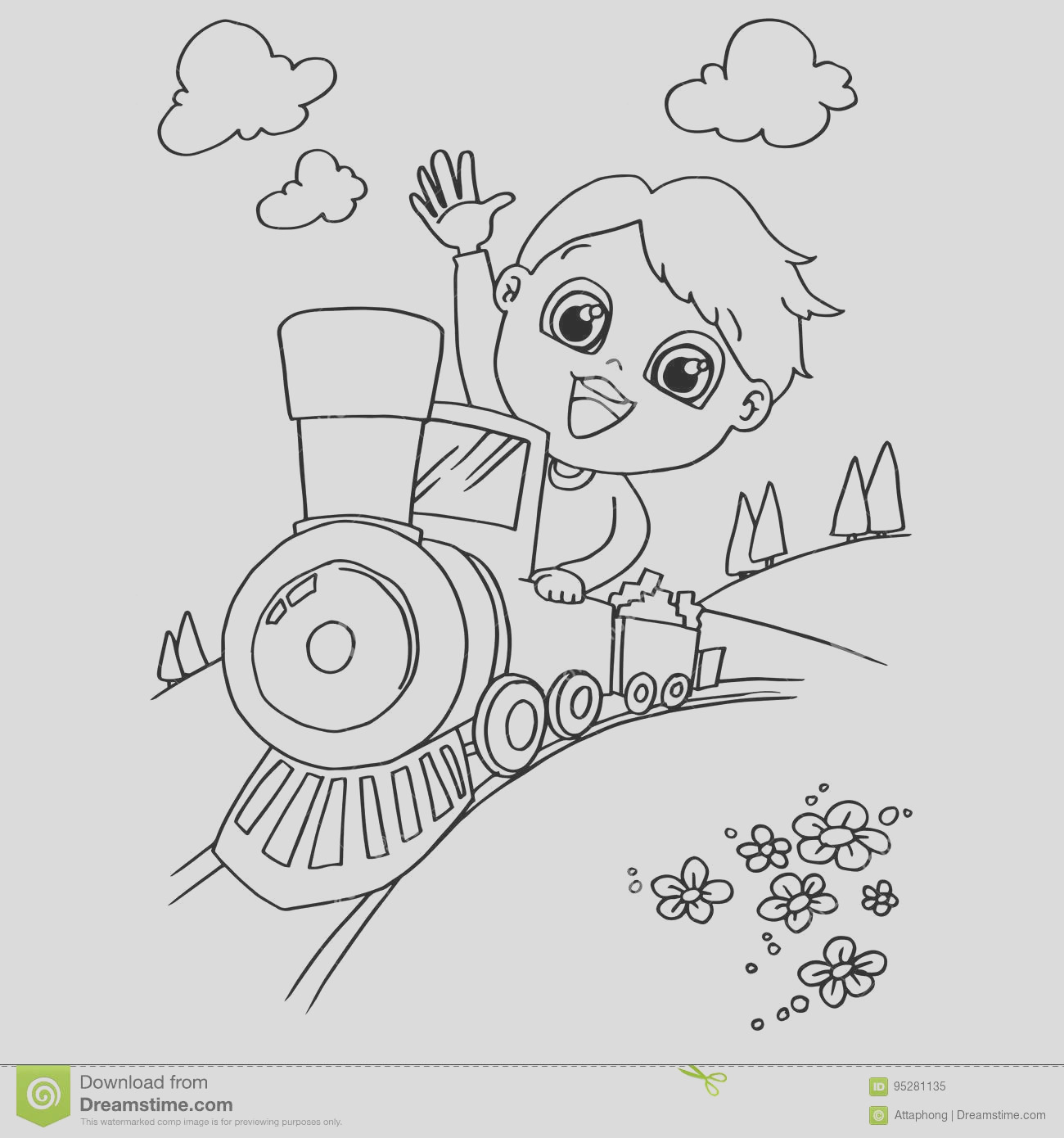 stock illustration little boy driving toy train coloring page vector image image