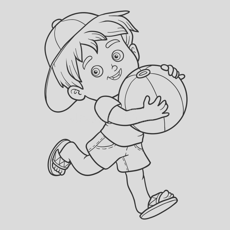 stock illustration coloring book children little boy ball inflatable image