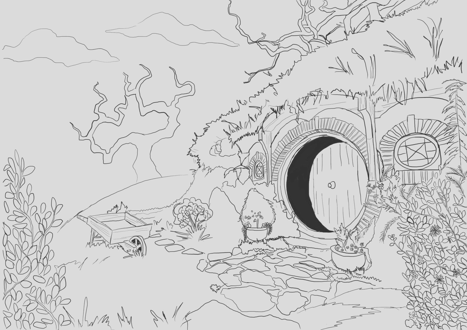 adult coloring page hobbit house from