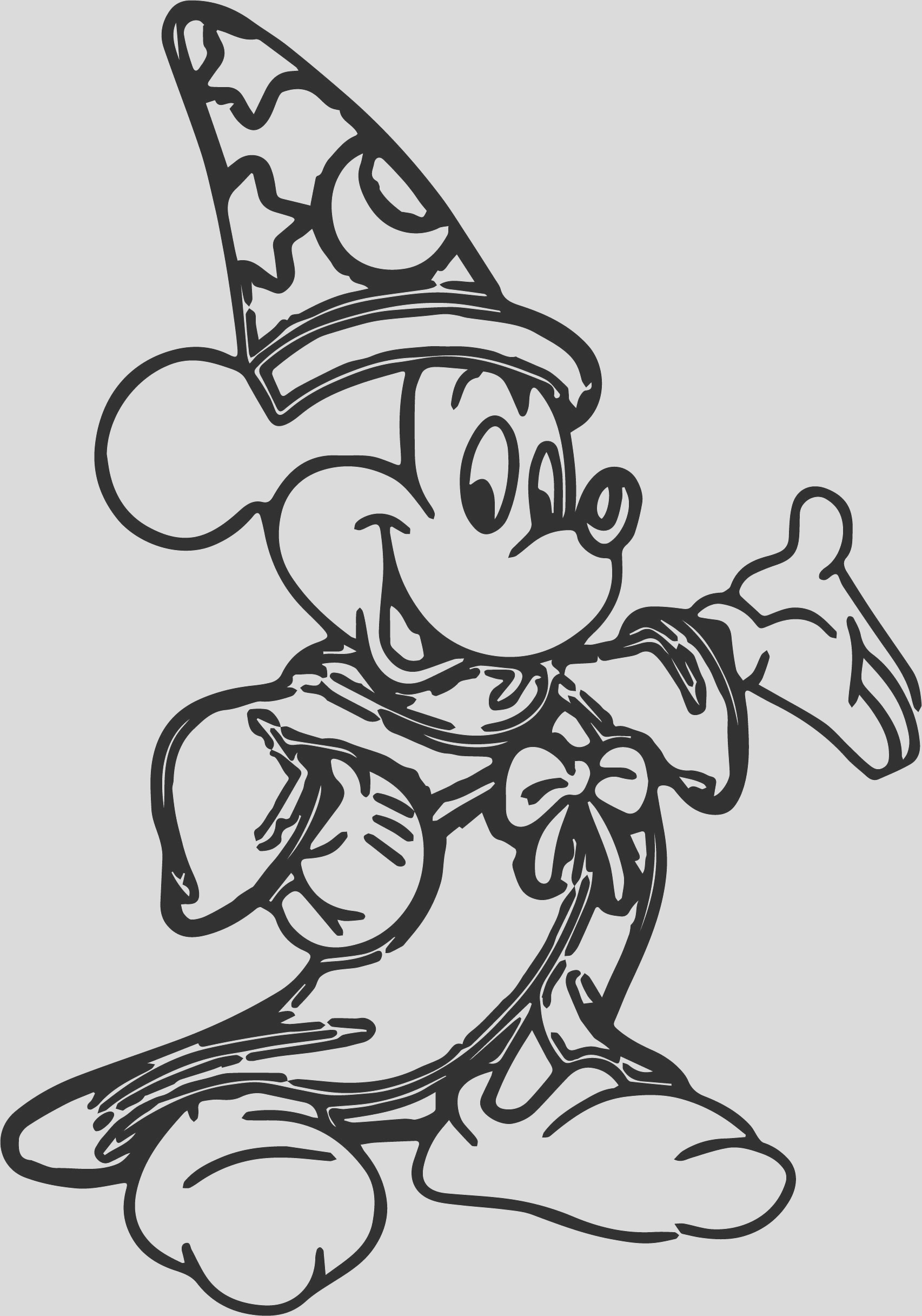 mickey magician fine coloring pages